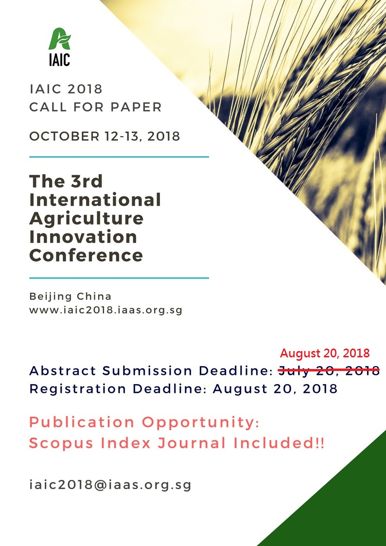 IAIC 2018 | The 3rd International Agriculture Innovation